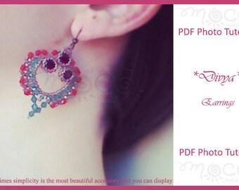 Photo Tutorial ENG-Ita  ,DIY Earrings,*Divya* earrings ,PDf Pattern 40 with swarovski,beads,cabochon,
