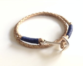 Anchor Bracelet Men, Mens wrap Bracelet, Braided Leather bracelet, leather cuff, Bohemian Wristband leather nautical bracelet men's jewelry