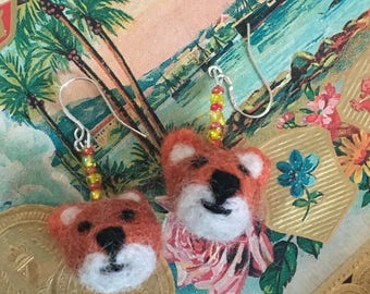 A Set of Felted Foxes  Beaded Earrings