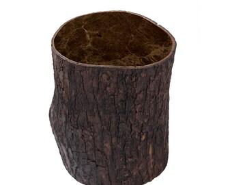 Exceptional Fiberglass Wood+Marble Stool, Landscape Furniture, Wood Stump, Wood Chair,  Marble