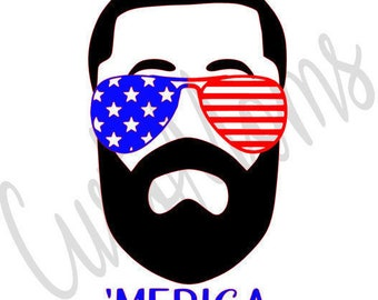 Memorial Day | 4th of July | Beard | Iron-on | Heat Transfer Vinyl Decal