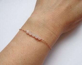 Rose gold rose quartz bracelet, Rose quartz bracelet, Rose gold bracelet, Pink stone bracelet, Bridesmaid gift
