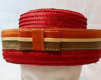 1950s Cute Red Straw Summer Brimmed Hat with Striped Ribbon and Little Bow