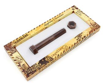 Chocolate bolt food natural chocolate bolt with nut gift auto party favors gift friend handymen tool kit mechanic gift carpenter party gift