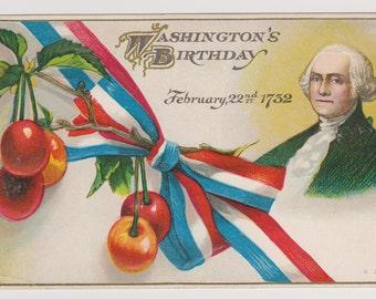 Washington's Birthday, Vintage Postcard, Patriotic Postcard, February 22nd, 1732