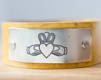 Claddagh Ring Cuff - Love, Loyalty, and Friendship Custom Leather Cuff -  Love Always