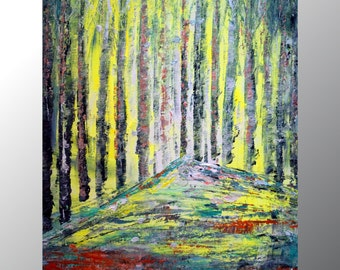 Birch Trees Oil painting Original Art on canvas Spring season Artwork by Luiza Vizoli