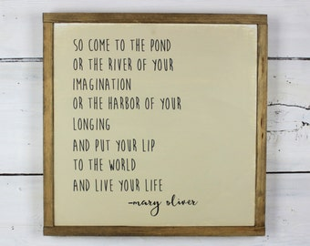 Mary Oliver Quote Sign - Rustic Framed Sign - Inspirational Decor - Rustic Home Decor - Wood Sign - Square Framed Sign