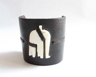 Leather cuff-Leather bracelet-Boyfriend gift--African bracelet-Maasai bracelet-African jewelry-Kenyan bracelet-Maasai jewelry