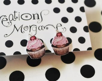 cupcake studs earrings/boucles d'oreilles cup cake