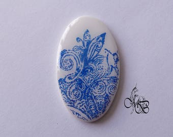 "Oval flat cabochon resin ""screen printed blue sequined"" #5"
