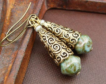Green and Gold Earrings, Rustic Bohemian Sage Czech Glass Drops, Long Teardrop Dangles, Intricate Boho Jewelry, Unique Birthday Gift for Her
