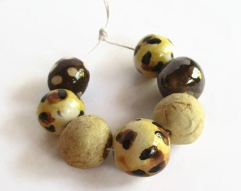 Artisan beads, Handmade Ceramic Beads, African beads, red, yellow, white beads, Clay beads, Artisan Beads, bead supplies, handmade supplies