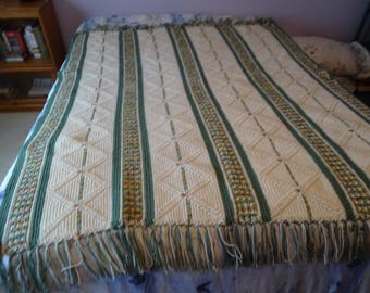 Crocheted Afghan - Aspen Leaves and Sage