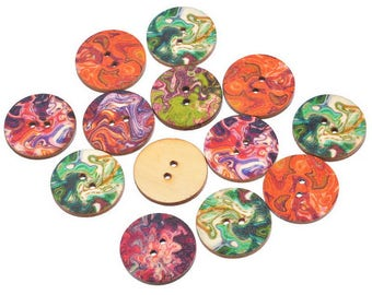 buttons 10 wood round multicolor