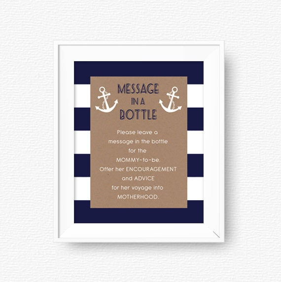 Nautical Baby Shower Message In A Bottle Sign Advice For