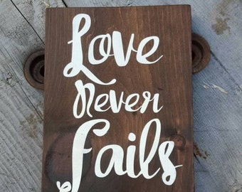Bible verse wedding sign, Love never fails, Verse wall decor, Inspirational quote, Wood sign for home