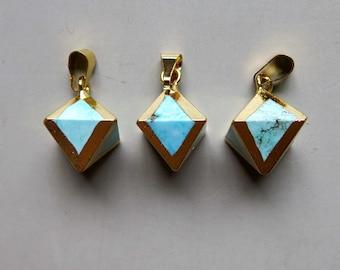Octahedron shape Turquoise Pendant with Electroplated Gold Edge - B1352