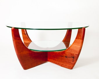 Jarrah glass top coffee table with shelf