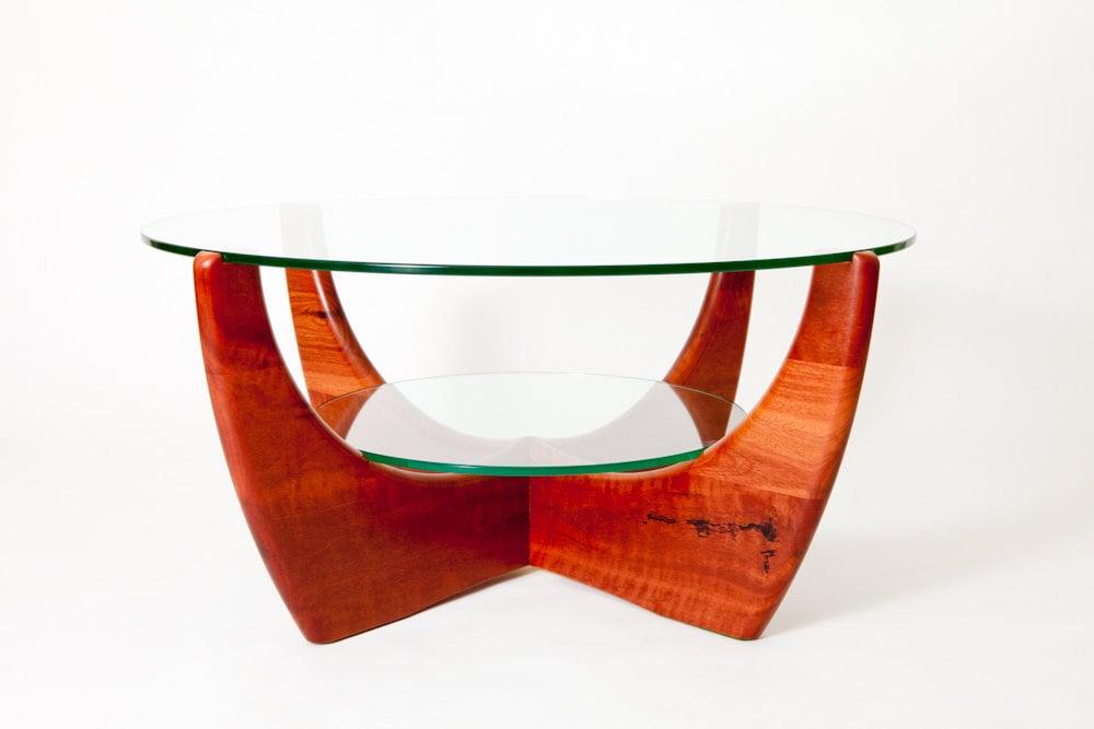 Jarrah glass top coffee table with shelf