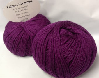 5 balls cashmere and Merino Wool / magenta / made in FRANCE