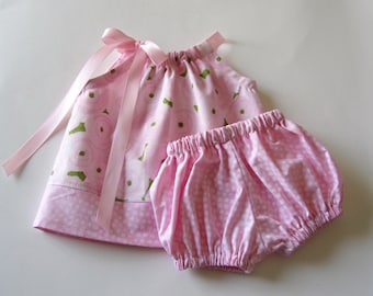 Baby Girls Pink Easter Dress - Pink Peonies on White - Pillowcase Dress & Bloomers - Babies Pink Sun Dress - Size Nb, 3m, 6m, 9m, 12m or 18m