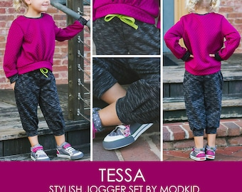 Tessa Stylish Jogger Set PDF Downloadable Pattern by MODKID... sizes 2T to 12 Girls included - Instant Download