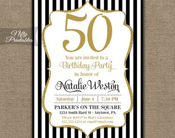 Purple 50th birthday cupcake toppers purple white 50th 50th birthday invitations black gold glitter 50 black tie fiftieth birthday printables black white stripes fifty bgl stopboris Images