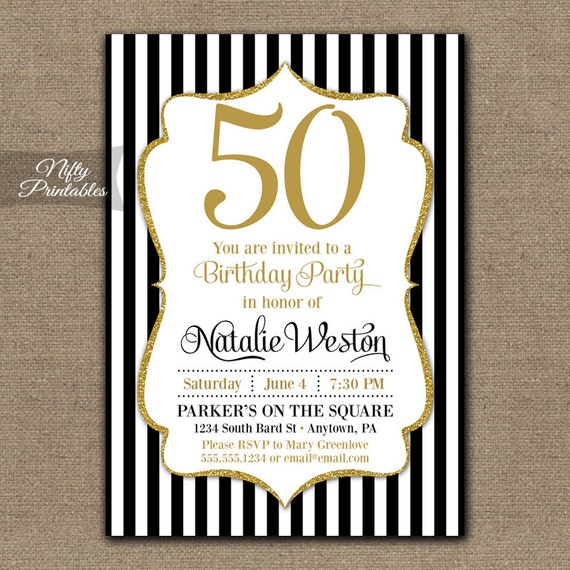 50th birthday invitations black gold glitter 50 black 50th birthday invitations black gold glitter 50 black tie fiftieth birthday printables black white stripes fifty bgl filmwisefo