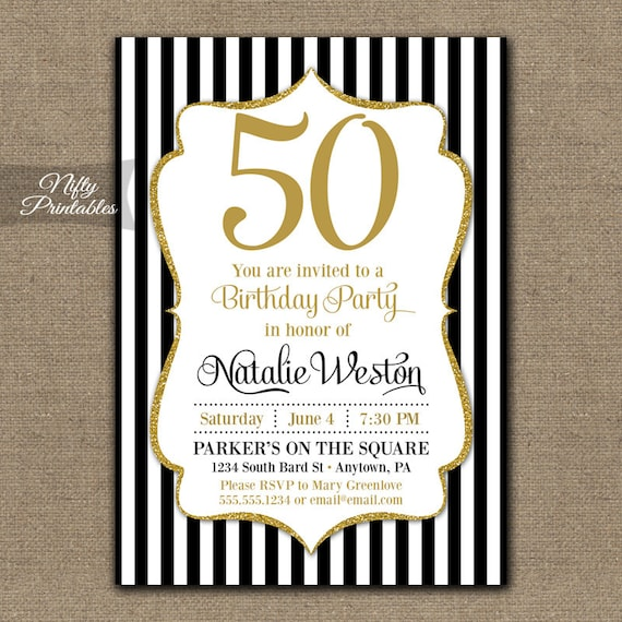 50th birthday invitations black gold glitter 50 black 50th birthday invitations black gold glitter 50 black tie fiftieth birthday printables black white stripes fifty bgl filmwisefo Choice Image