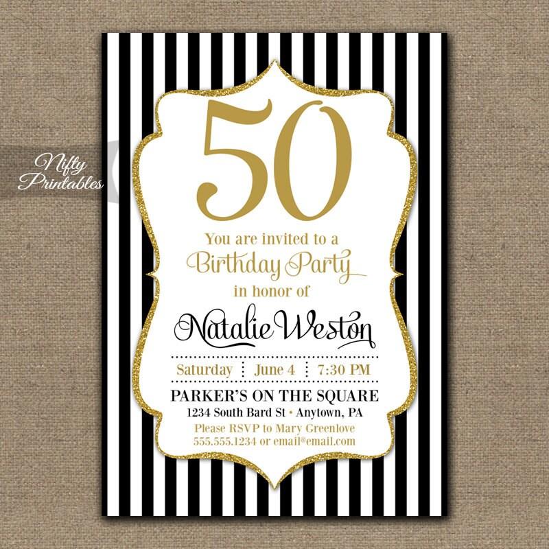 50th Birthday Invitations Black & Gold Glitter 50 Black