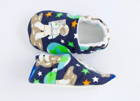 Baby boy glow in the dark space man booties, crib shoe, soft sole shoe