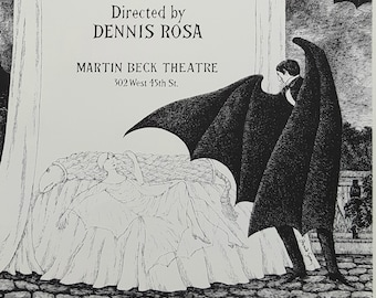 """EDWARD GOREY Original Vintage 1970's RARE Poster Print Gothic Home Decor Macabre Art Poster Poster for Broadway production """"Dracula"""""""