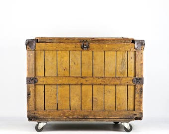 Wood Crate Large Wood Chest Large Vintage Grocery Crate Wood Box Wooden Crate Wood Crate On Wheels Industrial Decor Rustic Decor