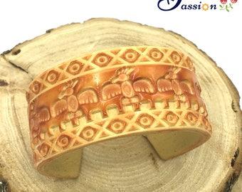 Tribal Spirits Polymer Clay Cuff Bracelet