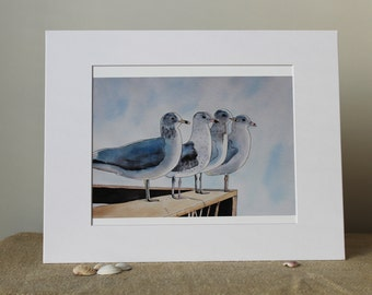 Seagulls Watercolor and Ink Print, Ocean, Seascape, Beach Cottage, Seagulls Watching, Nautical Decor, Beach House Decorating, Mat