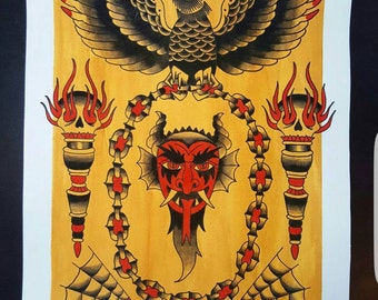 Original Devil Tattoo Painting Crow Torch Chain