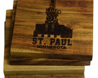 St. Paul Minnesota Coasters - Set of Four Engraved Acacia Wood Coasters