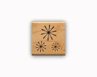 Starburst Mounted rubber stamp fireworks, celebration, flowers, retro stars, snow flakes, snowflakes, Sweet Grass Stamps #23