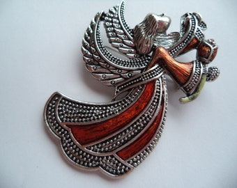 Fabulous Unsigned Silvertone/Red Angel holding Flower Brooch/Pin