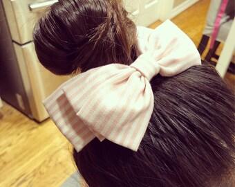 Striped Fabric Hair Clip, Girls Hair Bow, Big Hair Bow, Non Slip Clip