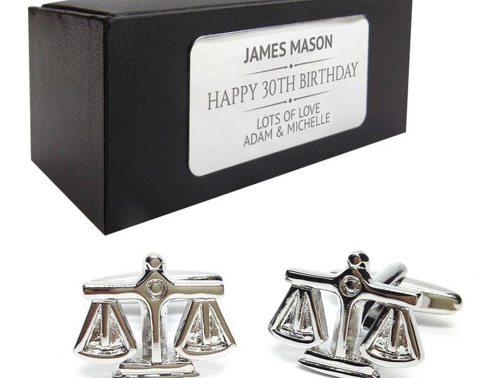 Lawyer scales justice solicitor CUFFLINKS 30th, 40th, 50th, 60th, 70th birthday gift, presentation box PERSONALISED ENGRAVED plate - 086