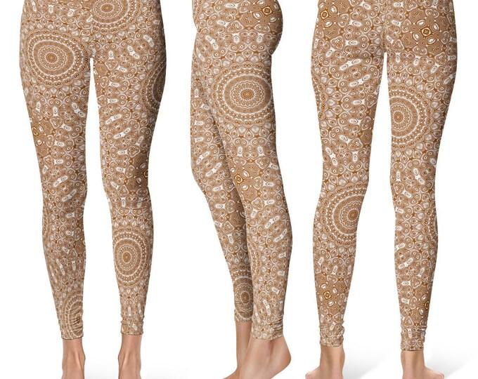 Chocolate Leggings Yoga Pants, Printed Yoga Tights for Women, Brown and White Mandala Pattern
