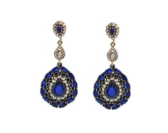 Handmade In Istanbul Sterling Brass Crystal Sapphire Blue Earrings