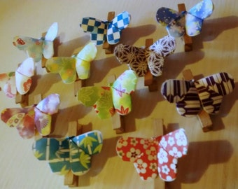 10 close pack, wooden pegs with butterfly, origami butterfly, placeholder 10 pieces