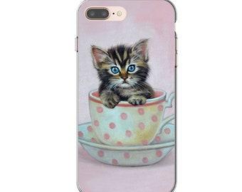 Cat soft mobile case, kitten flexible phone case, cat with milkshake phone case, soft kitten iphone case, persian cat mobile case, cat case