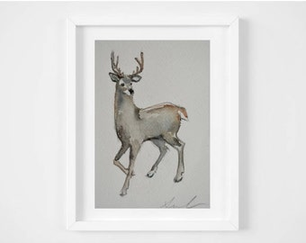 Original 5x7 Watercolor Painting - White-Tailed Deer