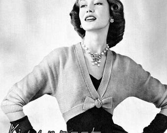 "Vintage 50's Knit ""Bow-Tie"" Spencer Bolero - PDF Pattern - INSTANT DOWNLOAD"