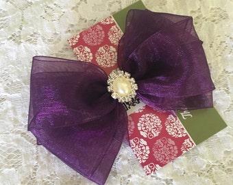 Eggplant Purple Organza Hair Bow with a Pearl & Rhinestone Center, Sparkle Flower Girl Hair Bow, Baby Hair Bow, Purple Bow, Pageant Hair bow