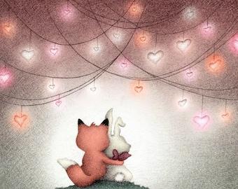 """8""""x10"""" Valentine Fox Bunny Rabbit Illustration Print Children's Books Kidlit Art Zootopia Fan Art Vday Ria Art World Alexandria Gold"""